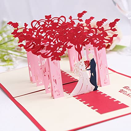 Nacodex Wedding Party Folded Pop Up 3D Greeting Cards Handmade Valentines Day Mothers Card