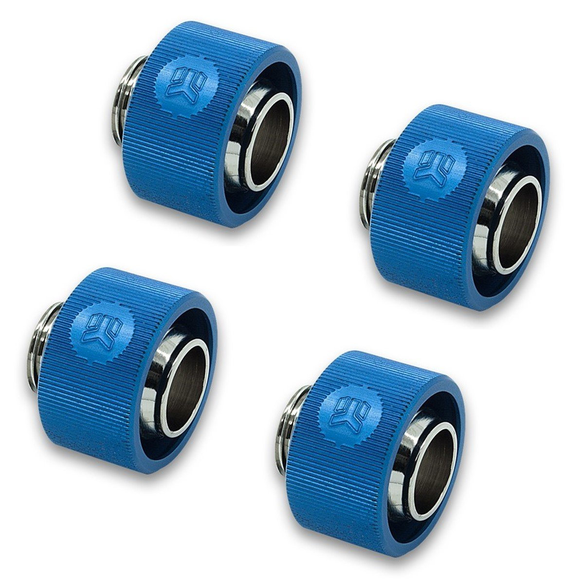 "EKWB EK-ACF Compression Fitting for Soft Tubing, 13/19mm (1/2"" ID, 3/4"" OD), Blue, 4-Pack"