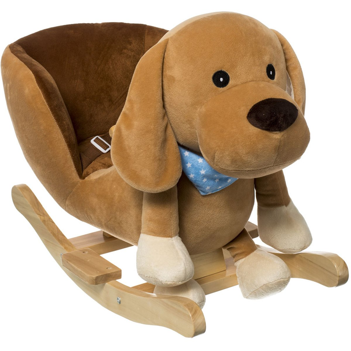 Schaukeltier Hund, mit Sicherheitsgurt, Plüsch, braun, ab 9 Mon. • Baby Schaukel Schaukelpferd Plüsch Tier Hund Holz Wippe