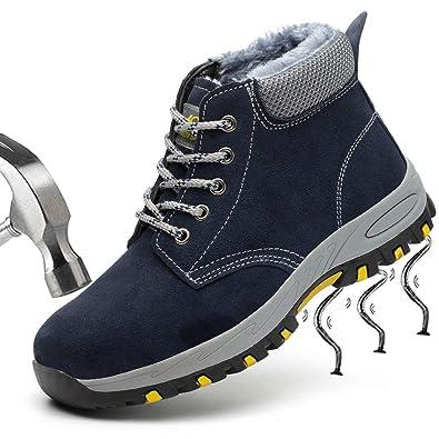 SUADEEX Mujer Hombre Invierno Zapatillas de Seguridad Botas con Puntera de Acero Impermeables Zapatos de Trabajo Ligeras Calzado de Seguridad Entrenador ...