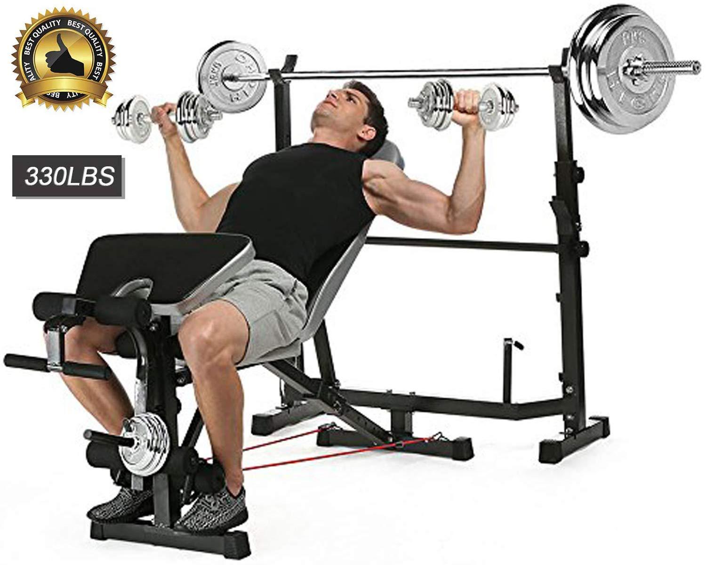 脚付き調節可能オリンピックウェイトベンチ ウェイトリフティングと筋力トレーニングとスクワットラックスタンド付き プロフィジナルフィットネスホーム用 屋内エクササイズ  ブラック B07G81QKV9