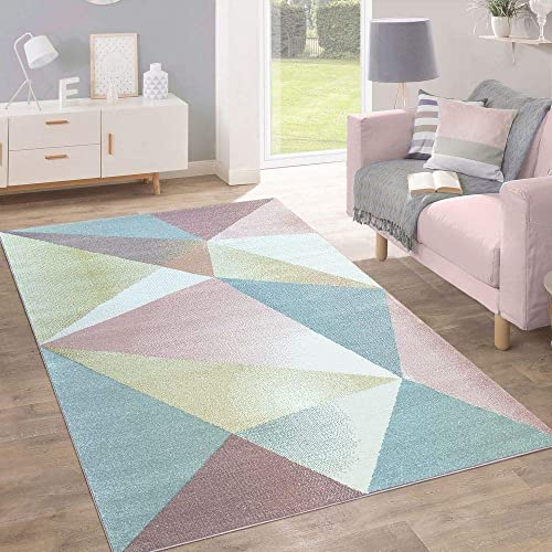 Rug Short-Pile Modern Trendy Pastel Geometric Design Mottled Inspiration Multi, Size 200×280 cm
