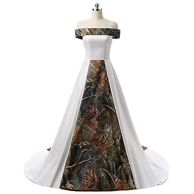 Yanlian Women S Strapless White And Camouflage Wedding Dresses Long