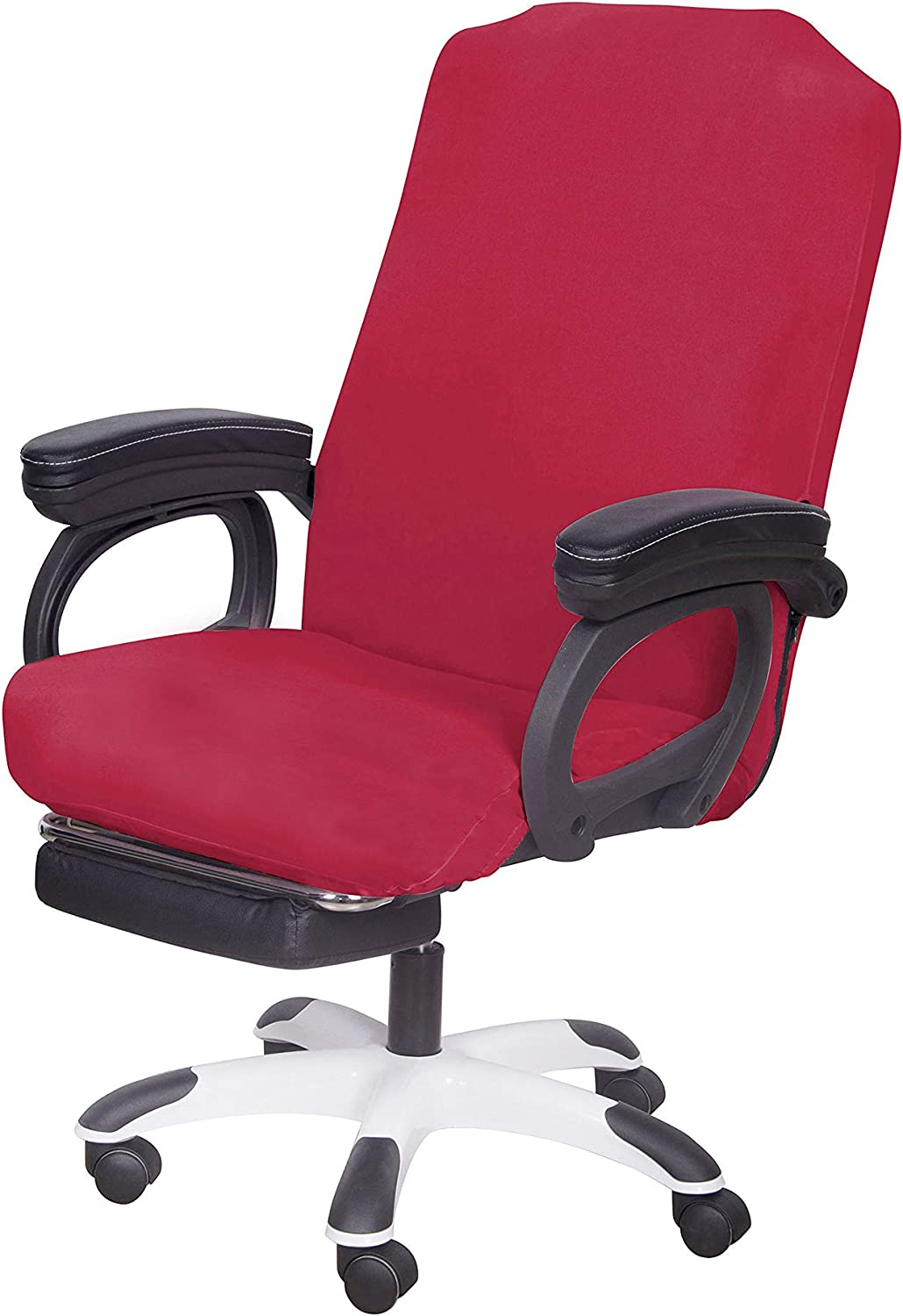 SARAFLORA Red Office Chair Covers Stretch Washable Computer Chair Slipcovers for Universal Rotating Boss Chair Middle Size