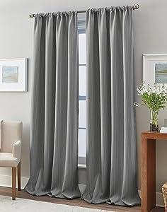 "Peri Home Formosa Curtain Panel, 84"", Grey"