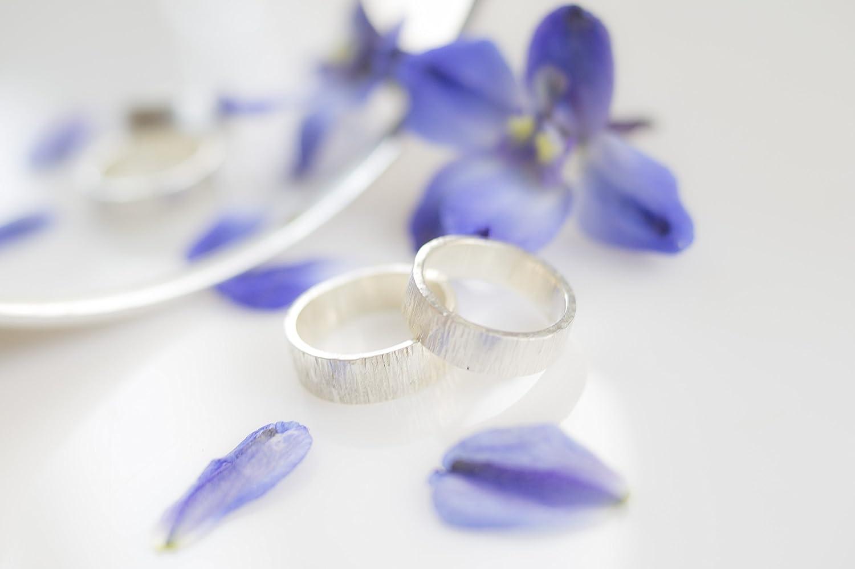 Alianza de plata 925, anillo de boda hecho a mano con textura