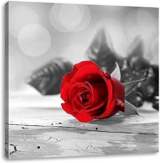 schöner Rosenstrauß auf Tisch schwarz//weiß Leinwandbild Wanddeko Kunstdruck