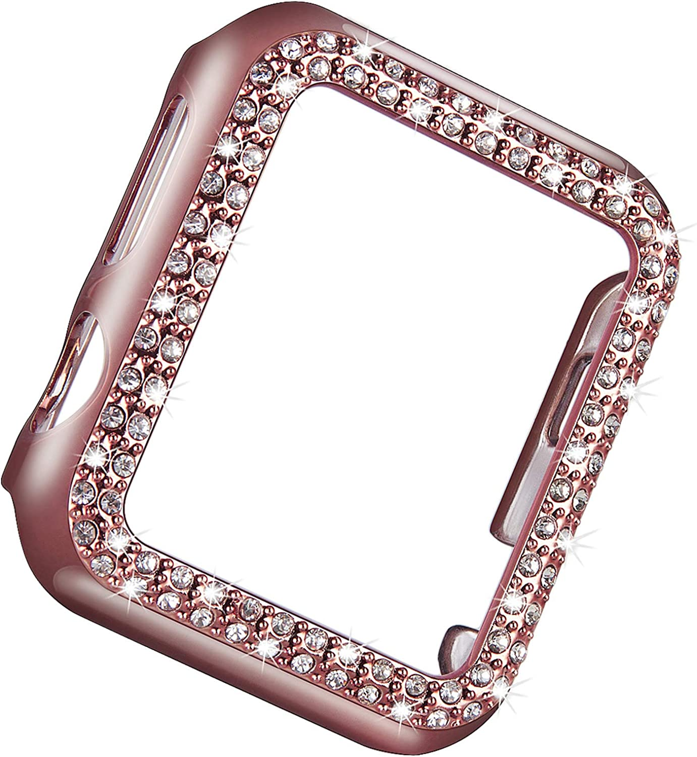 Vikoros Bling Protective Bumper Case Compatible with Apple Watch 38mm 42mm 40mm 44mm, Dressy Diamond Plate Frame Cover Screen Protector Compatible with iWatch Series 5 4 3 2 1