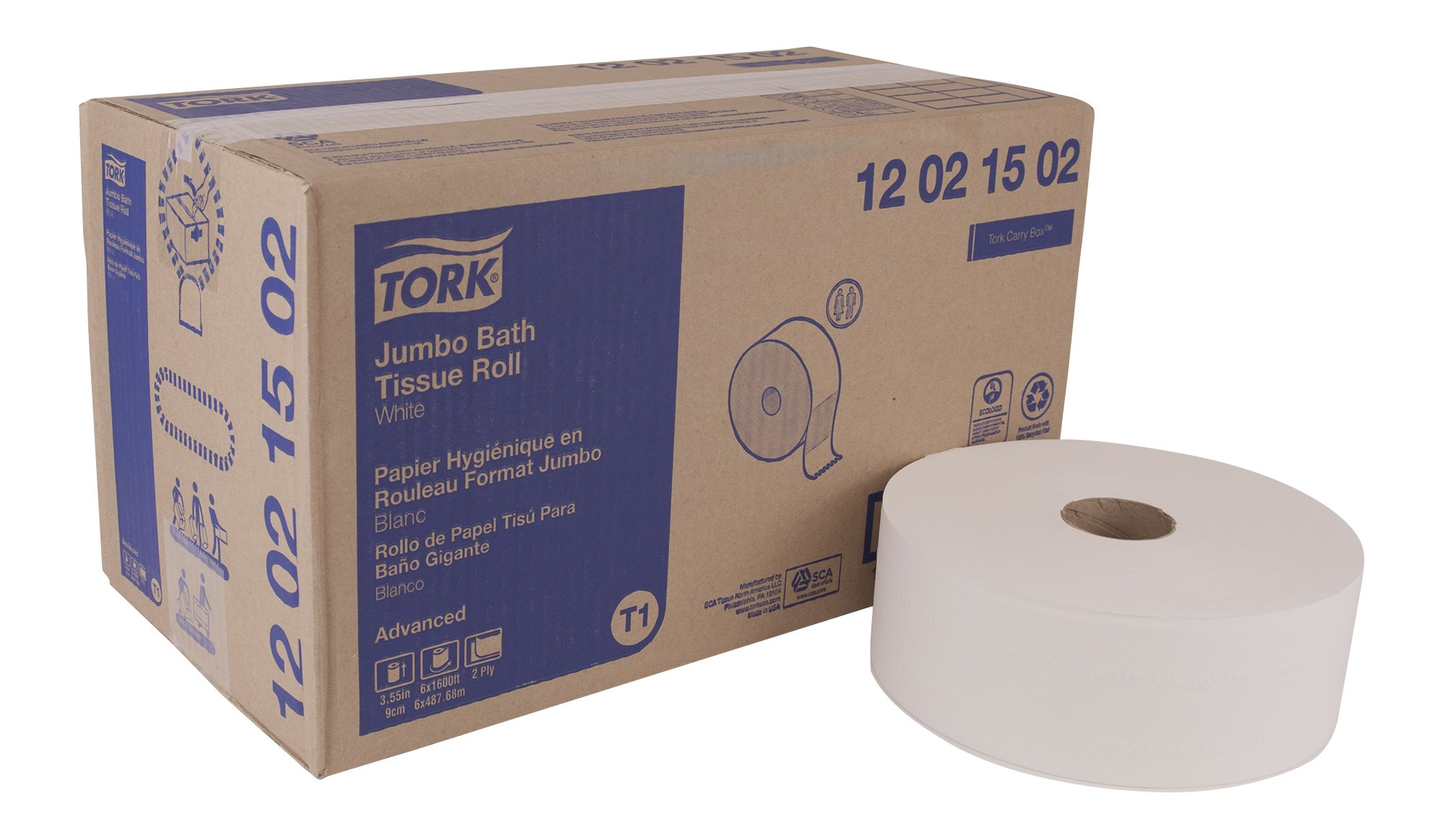 Tork Advanced 12021502 Jumbo Bath Tissue Roll, 2-Ply, 10'' Diameter, 3.55'' Width x 1,600' Length, White (Case of 6 Rolls, 1,600' per Roll, 9,600 Feet)