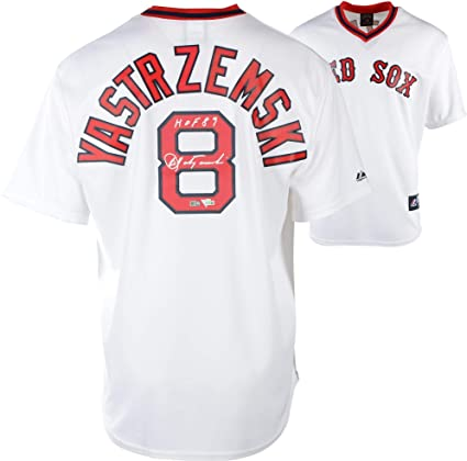 ae992cfa521 Carl Yastrzemski Boston Red Sox Autographed Cooperstown Collection White Throwback  Jersey with quot HOF 89 quot