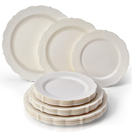 PARTY DISPOSABLE 30 PC DINNERWARE SET | 10 Dinner Plates | 10 Salad Plates | 10  sc 1 st  Amazon.com : china looking plastic plates - pezcame.com