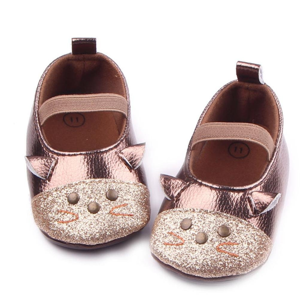 Minshao Newborn Baby Girls Cartoon Cat Fashion Anti-slip Soft Shoes Princess Sneaker For 3-12 Months