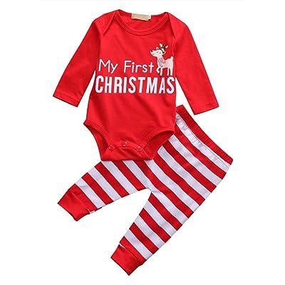 200e2ad999760 Bébé Fille tenues pour nouveau-né Rouge My First lettres de Noël Cerf à  manches