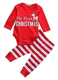 2d99d20af Bebé niñas trajes recién nacido rojo mi primera Navidad letras ciervos  manga larga Tops camiseta pantalones sombrero…