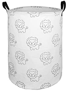 DUYIY Canvas Storage Basket with Handle Large Organizer Bins for Dirty Laundry Hamper Baby Toys Nursery Kids Clothes Gift Basket(Grey Lion)