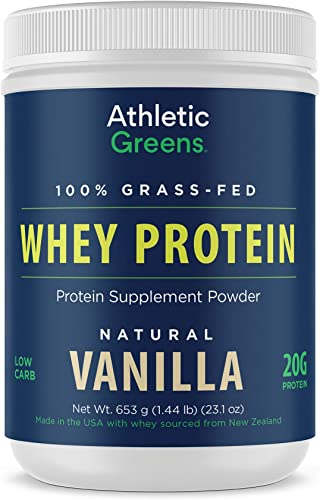 Athletic Greens 100 Grass-Fed Whey Protein Low Carb Low Sugar Natural Vanilla Flavor, 20 Grams of Protein per Serving, 653 g