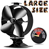 2017 New Designed Silent Operation 4-Blades Large Heat Powered Stove Fan with Free Stove Thermometer for Wood/Log Burner/Fireplace- Eco Friendly(Black)