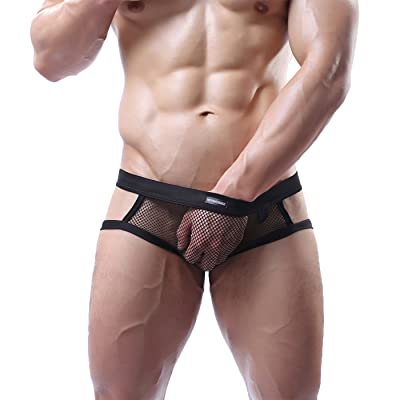 MyCHIC Men's Open Butt Jockstrap Briefs Fishnet Bikini Briefs Underwear