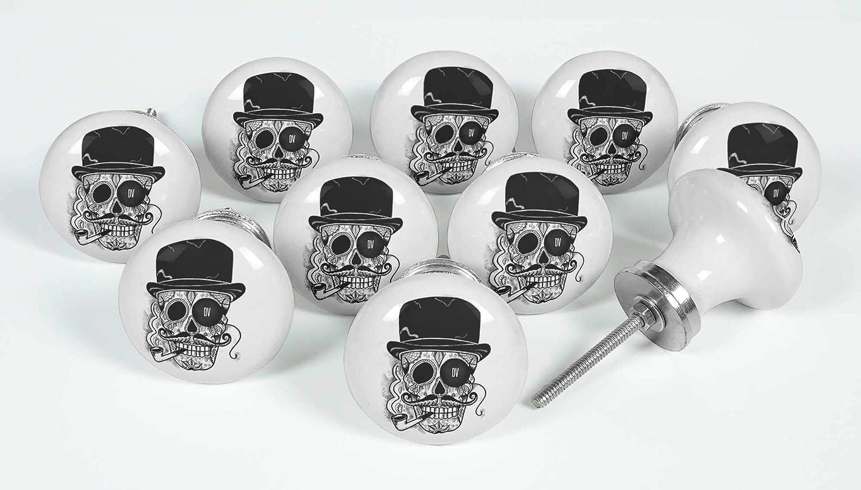 IBA IndianbeautifulartBlack Hat /& Skull M/öbel T/ürgriffe Keramik Kabinett Schrank Griff ziehen