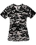 Ladies Digi-Camo V-Neck Wicking Moisture Management Shirt (7 Digital Colors, in 7 Women's Sizes)