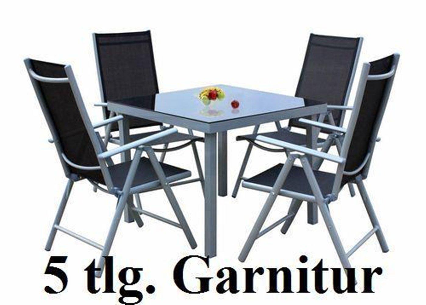 Gartenmöbel set günstig  SSITG 5tlg. Alu Gartenmöbel-Set Gartengarnitur Balkonmöbel-Set ...