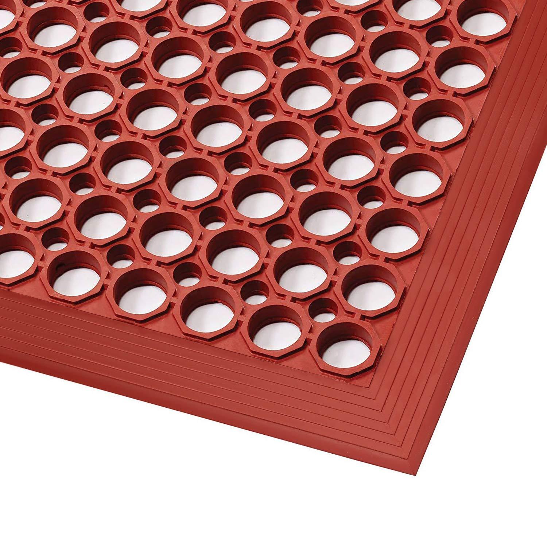Matte in verschiedenen Gr/ö/ßen Arbeitsplatzmatte SBR//NBR Gummi Ringgummimatte mit Anlaufschr/äge rutschhemmende und sto/ßarbsorbierende Gummimatte 91x297 cm