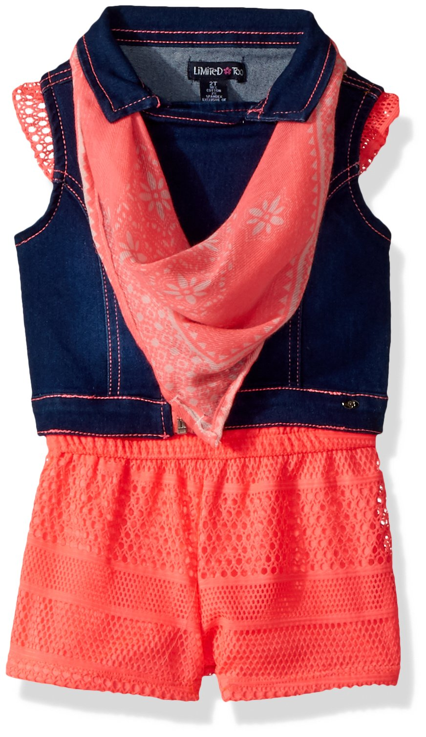 Limited Too Girls' Toddler' Romper, Denim Motorcycle Vest with Bandana Neon Coral, 2T