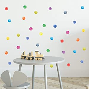 ROFARSO 120 Decals 2.2'' Colorful Dots Wall Decals Watercolor Polka Wall Stickers DIY Decoration for Kids Baby Boys Girls Teens Removable Home Decor for Nursery Bedroom Living Room Playing Room