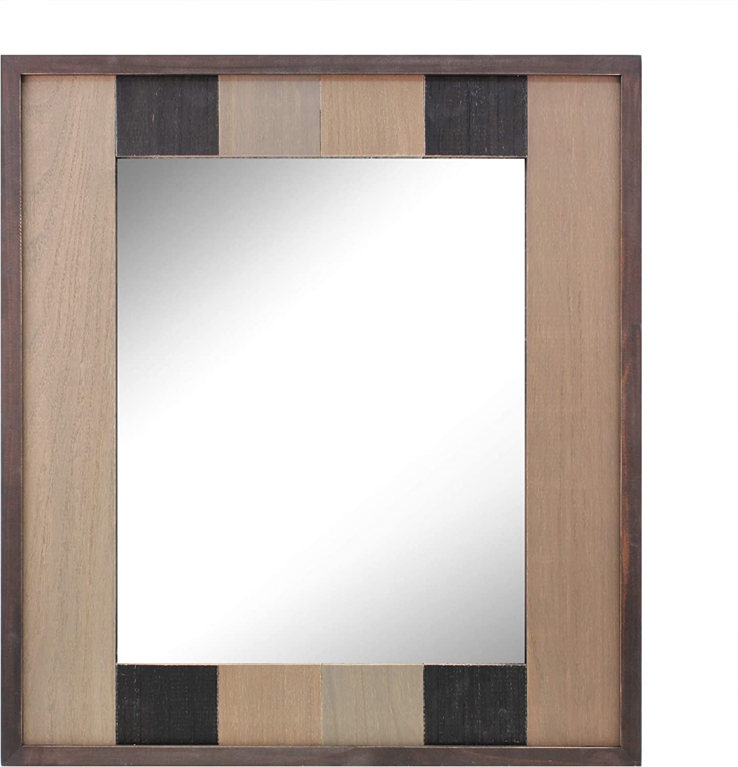 Stonebriar Rectangle Wood Plank Hanging Wall Mirror with Attached Mounting Brackets, Rustic Decor Accents for the Bathroom, Living Room, Bedroom, Office, and Hallway