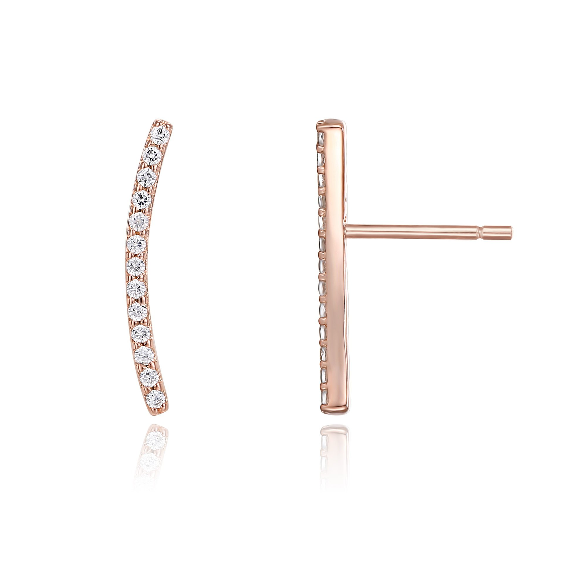 PAVOI 14K Gold Plated Ear Crawler - Cuff Earrings Hypoallergenic Sterling Silver Stud Ear Climber Jackets - Rose