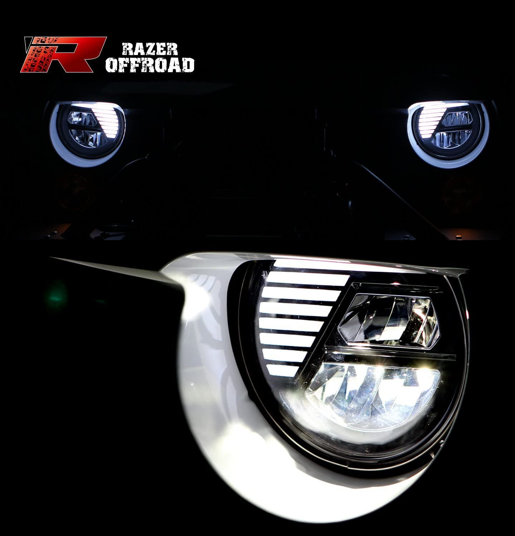 /& Turn Signal LED Light+Running Light Combo for 07-17 Jeep JK Wrangler Cree LEDs Blue Razer Auto Extreme Skull Blue w//Clear lens+LED Headlight Hi-Bean+Low-Beam