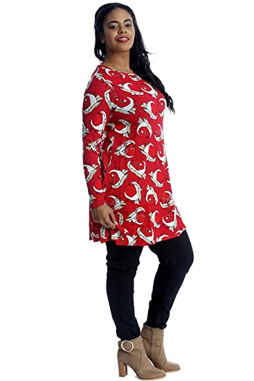 8ef6e226f77 Nouvelle Collection. Ladies Plus Size Top Christmas Robin Swing Tunic at  Amazon Women s Clothing store