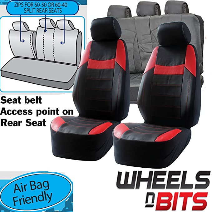 Sports Style Black Grey Leather Look Car 50-50 60-40 Split Rear Seat Covers Set+