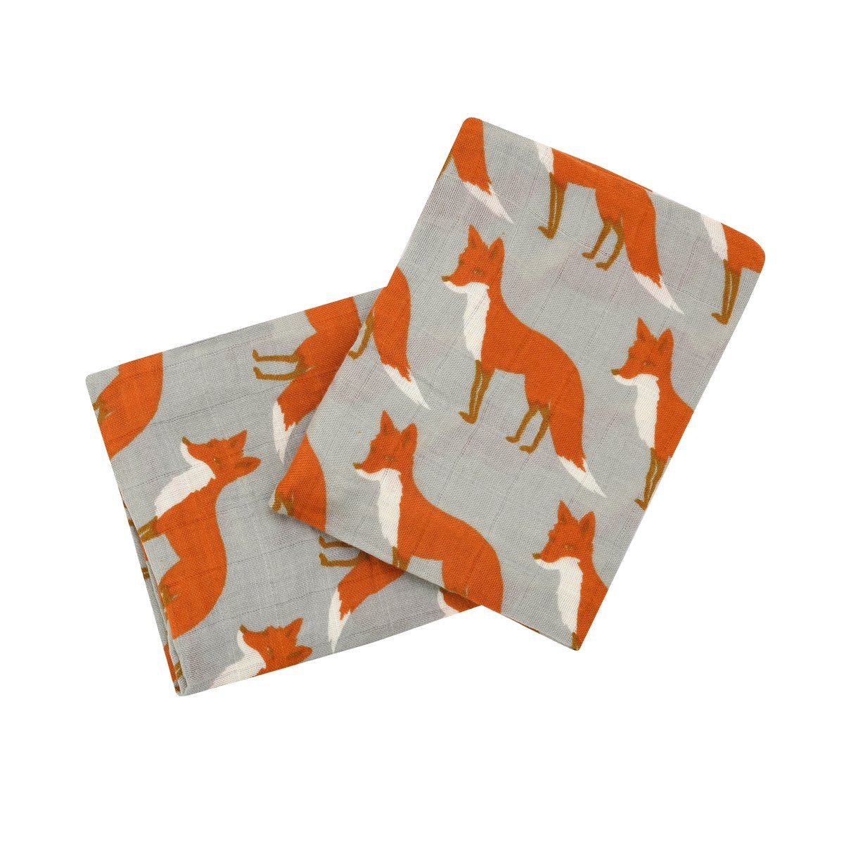 Milkbarn Organic Cotton Burp Cloths''Orange Fox'' - Set of Two