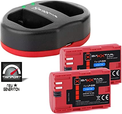 Baxxtar USB Dual Cargador TWIN PORT 1823/2 con 2x Baxxtar batería ...