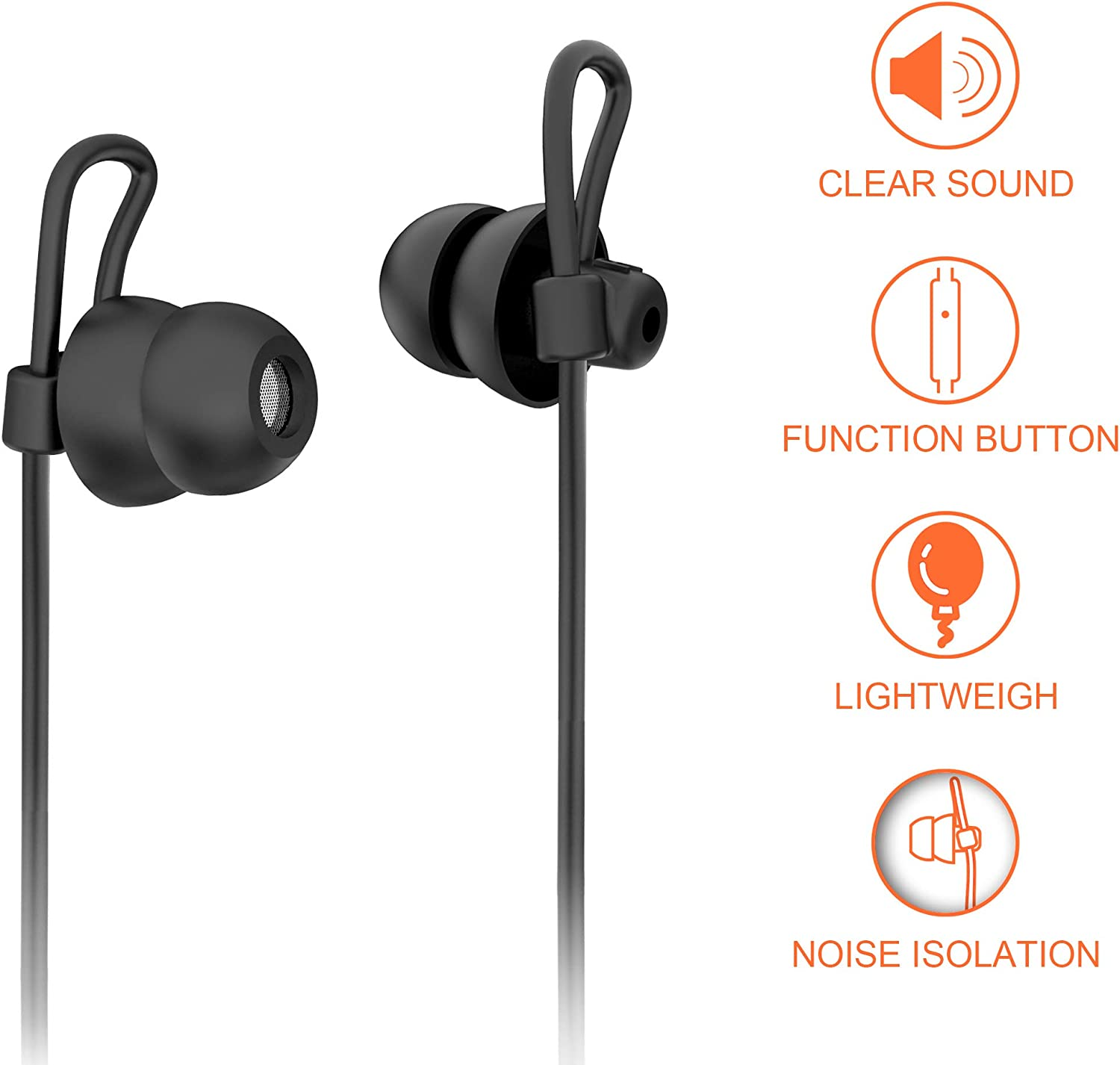 Sleep Earbuds Sleeping Noise Isolation Headphones with Unique Fully Soft Silicone Earplug,Sleep Earphones with Mic,Perfect for Sleeping,Insomnia,Side Sleeper,Snoring,Air Travel,Meditation /& Relaxation VZ SPORT MATE