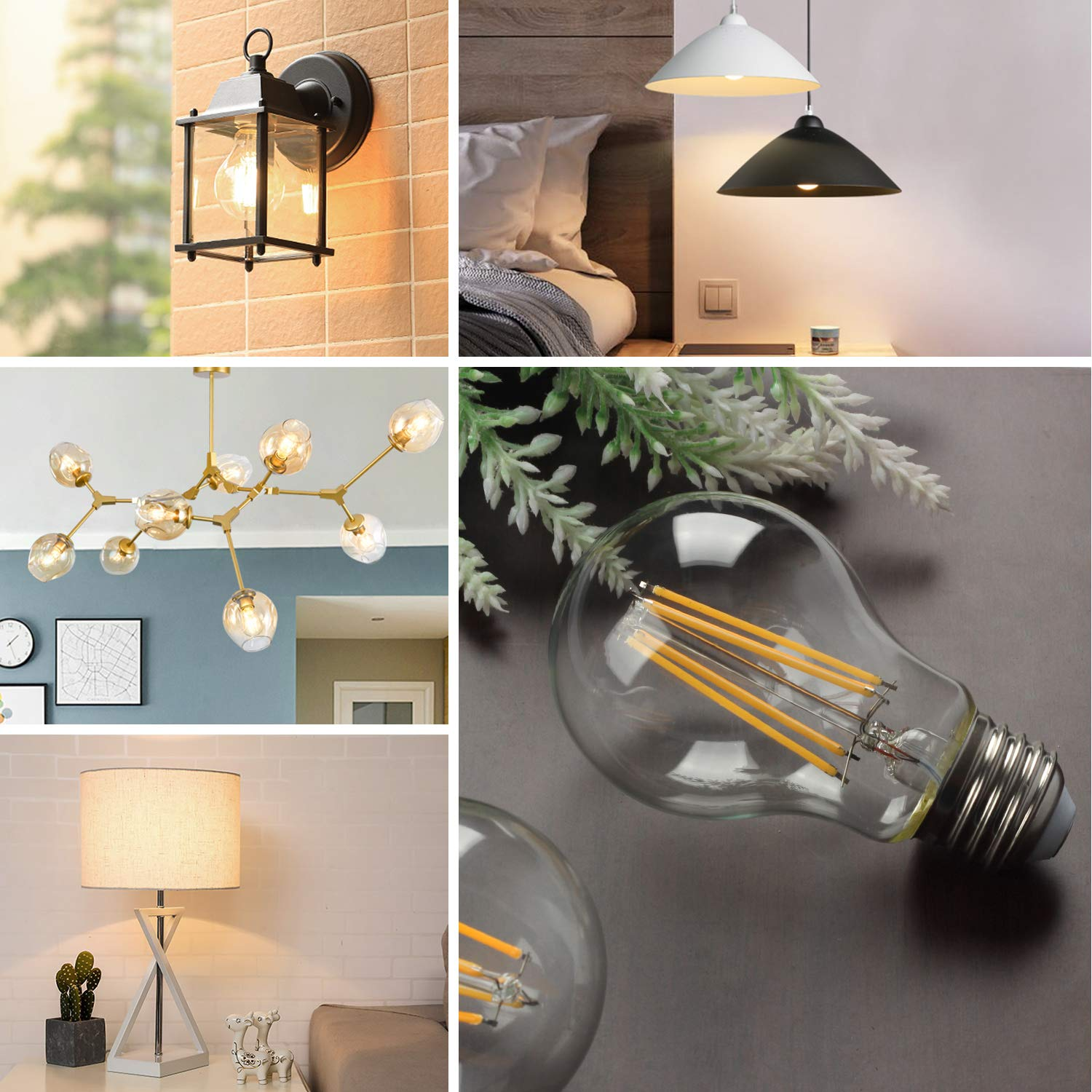 Vintage LED Edison Bulb Dimmable 6W A19 LED Light Bulbs 2700K Soft White 600LM Led Filament Bulb 60W Incandescent Equivalent E26 Medium Base Decorative Clear Glass for Home, Restaurant, Cafe, 6 Pack by Boncoo (Image #8)