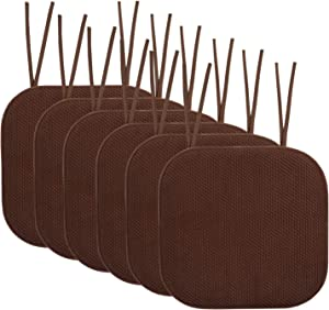 "Sweet Home Collection Chair Cushion Memory Foam Pads with Ties Honeycomb Pattern Slip Non Skid Rubber Back Rounded Square 16"" x 16"" Seat Cover, 6 Pack, Chocolate Brown"