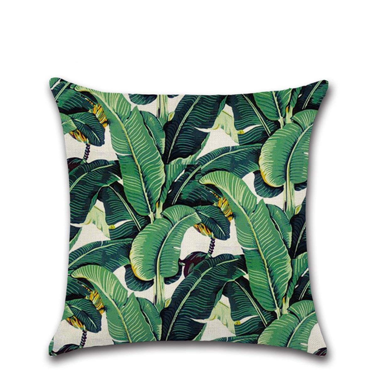 Martinad Einfache Blume Und Lassen Quadratisch Casual Chic Dekorativer /Überwurf Kissenbezug Sofa Home Office Decor Polyester 1 Green Leaf 45 X 45 cm Color : 1 Green Leaf, Size : Size