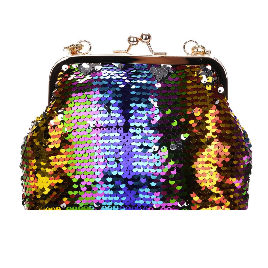 Women Bling Sequins Bucket Bag Shoulder Bags /Crossbody, Luca Travel Backpack Rucksack School Bucket Bag (Multicolor B)