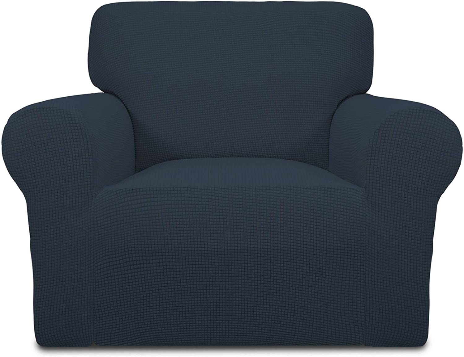 Easy-Going Stretch Chair Sofa Slipcover 1-Piece Couch Sofa Cover Furniture Protector Soft with Elastic Bottom for Kids,Pet. Spandex Jacquard Fabric Small Checks(Chair,Dark Blue)