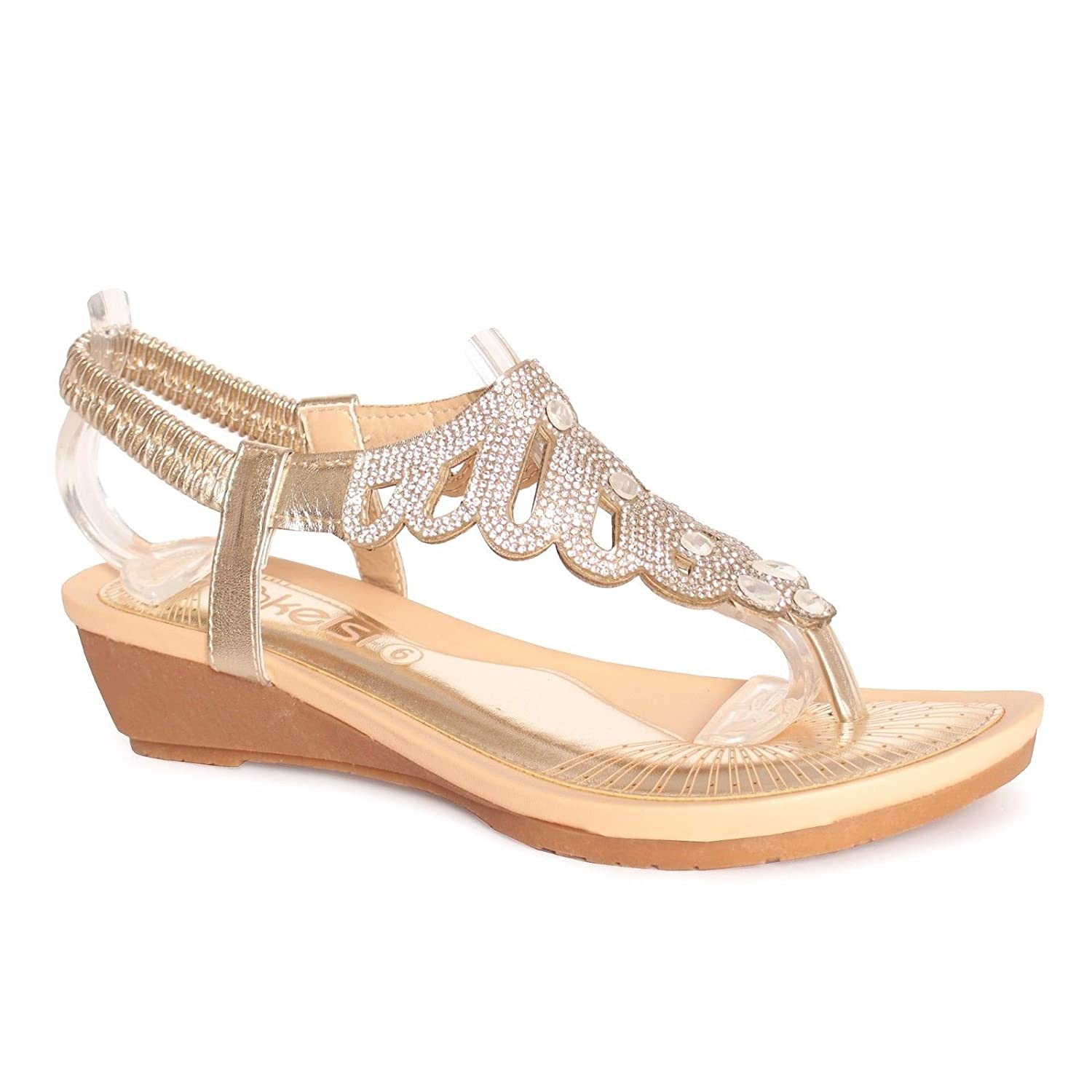 Ladies Womens Sandals Gold Jewelled Sling Back Low Wedge Shoes Size