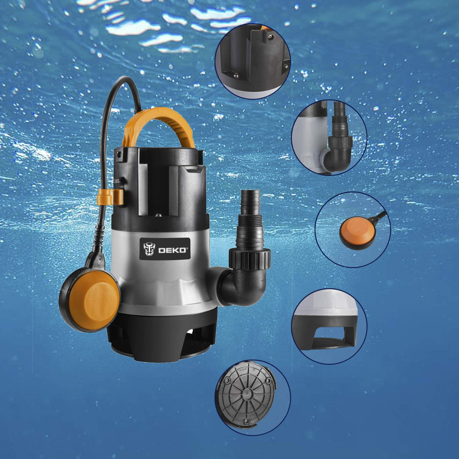 DEKO Sump Pump 1HP 3302GPH 750W Submersible Clean/Dirty Water Pump Swimming Pool Garden Tub Pond Flood Drain w/Float Switch and Long 16ft Cable by DEKO (Image #7)
