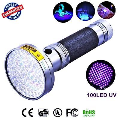 100LED UV lumière noire lampe de poche, 395nm ultraviolet LED–Lunettes de soleil avec protection UV, Pet Cat d'urine et les taches détecteur de lumière noire, Scorpions, Moul