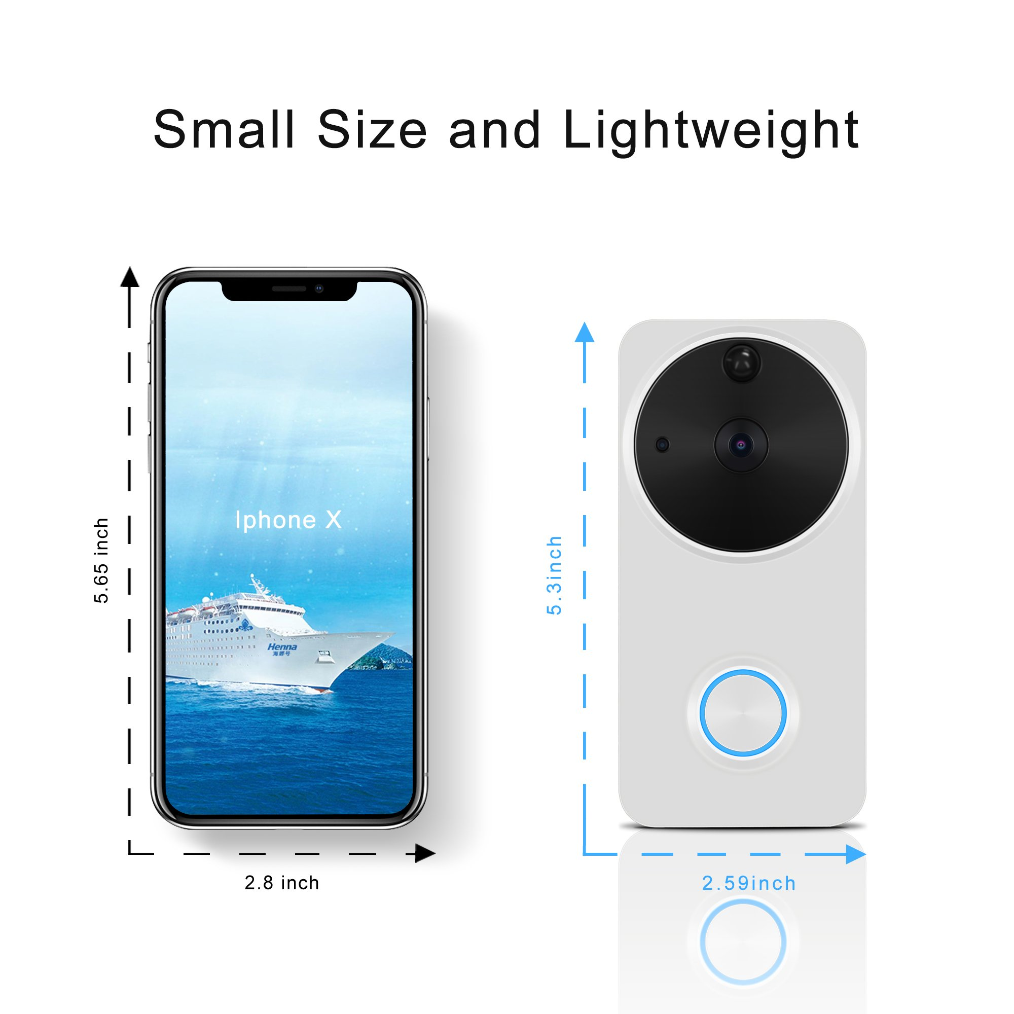 Video Doorbell Wireless - HEIHEI WiFi Smart Door Bell Kit, 720P HD Video, 2-Way Audio, Motion Detection, IR Night Version, Waterproof Home Camera W/2-Battery Built in 16G Card for IOS/Android - White by HEIHEI (Image #4)