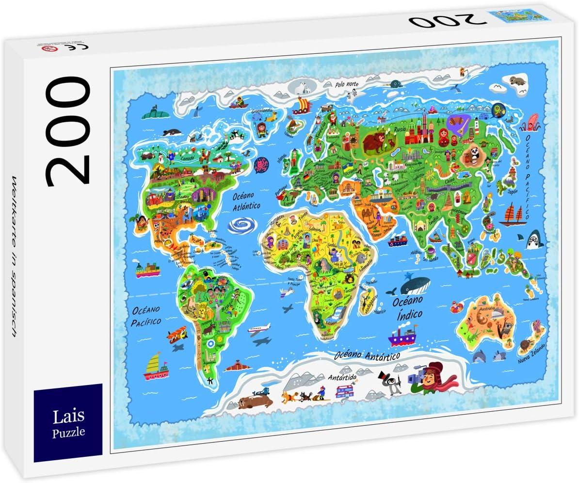 Lais Puzzle Mapa Mundial en español 200 Piezas: Amazon.es ...