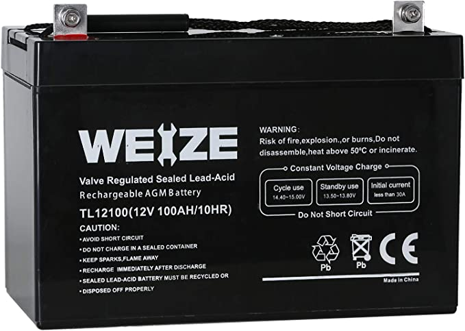 Weize 12V 100AH Deep Cycle AGM SLA VRLA Battery for Solar System RV Camping