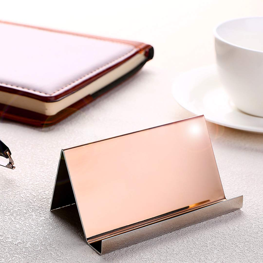 2 Pack Desktop Business Card Holder for Office Desk Name Card Display Rack Organizer Stainless Steel by WUYASTA (Image #3)