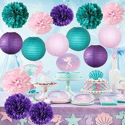 Amazon Com Furuix Mermaid Baby Shower Decorations Mermaid Party