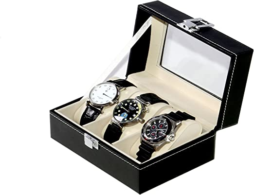 Caja guarda 3 relojes PU Negro: Amazon.es: Hogar